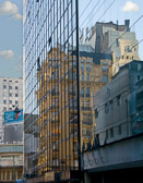 A reflection of  old and new in the  Buenos Aires business district.