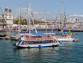 Boats of all kinds are found at the Port Vell harbor.