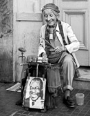 An older Buenos Aires street performer who still seems to enjoy her work.