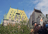 Two of the ornate metal rooftops you will see in Quebec's old city.