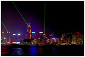 Every night there's a musical laser show along at the Hong Kong Harbor.