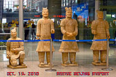 Terra Cotta soldiers at Beijing Airport preview the trip to come.