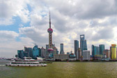 Looking across the the Huangpu River to a very modern part of Shanghai.