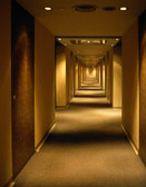 The hallway in Hong Kong's Prudential Hotel casts an eerie spell.