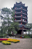 A 12 story temple built in the 1800's by Emperor Qianlong rises 100 ft.  above the Yangtze.