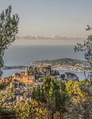 View from La Turbie to Eze Village and the Mediterranean Sea.
