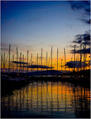The sail boats of Saint Maxime make a striking sunset silhouette.