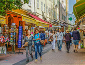 A street in Nice that is typical of shopping in the villages of Provence.