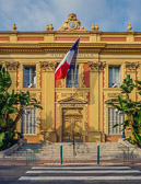 A beautiful building in Nice houses the city's colorful town hall.