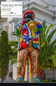 A statue of Miles Davis by Niki de Saint Phalle at the Negresco Hotel In Nice.