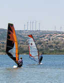 Two ways to put wind power to work in Leucate, a hot spot  for wind surfers.