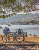 A beautiful and peaceful beach provides a view of Villefranche.
