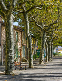 No one is to be seen mid afternoon in this sleepy village near Carcassone.
