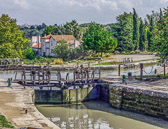 A lock on the Canal du Midi that needs to be opened for us to pass through.