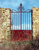 Looking out to the blue sky through the gate at La Viala.