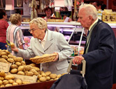 Senior shoppers at the daily indoor market in Avignon.