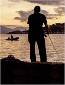 Sunset is a favorite time for fishermen in Saint Maxime.