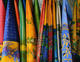Olives, flowers, fruits and cigales are traditional motifs of Provencal fabrics.