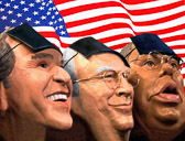 Rubber masks of George Bush, Dick Chaney and Colin Powell.