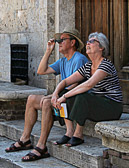Tourists are easily awe struck as they gaze upon the sights of Italy's past.