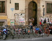 Bikes and motor bikes are much easier to park than cars in the busy streets of Florence.