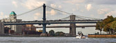 The Manhattan Bridge and Brooklyn Bridge at the lower end of the East River.