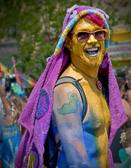 A happy participant in the annual Coney Island Mermaid Parade.