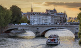 A sunset cruise along the Seine is a beautiful way to end the day.