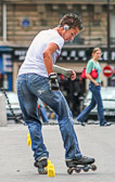 Roller blading has become a favorite pastime as well as a mode of transportation in Paris.