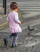 There are plenty of pidgeons for little girls to chase in Paris.