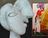 The Picasso sculpture seems to be gazing at the Chagall painting.