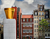 This golden pot was part of a sculpture display by the Pompidou Museum.