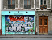 Grafitti artists are doing their work in Paris just like in every other major city.