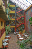 The colorful dining area of the Royal Inka hotel in Cuzco.