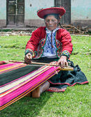 Most of her weavings are made to sell to tourists visiting her village near Cuzco.