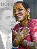 John Ahearn's Ernestine is made happy and hopeful by Barak Obama.