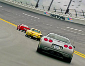 Corvettes get a run on the track before the Rolex 24 Hrs at Daytona  in 2012.