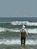 Surf fishing at the Jersey Shore requires positive thinking and lots of luck.
