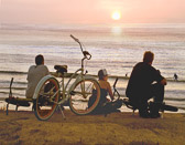 Each evening people gather on the beach in La Jolla, Ca. to catch the sunset.